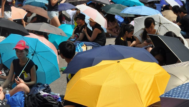 On Oct. 1, many protesters, most students, gather in Hong Kong to share their ideals on democracy.