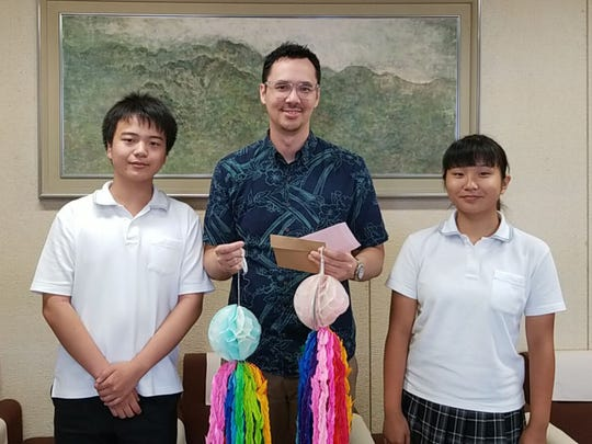 Students from Kobe Ryukoku High School in Japan presented Guam with two sets of senba-zuru, or 1,000 cranes made of origami, that will be placed at the South Pacific Memorial Peace Park in Yigo as a symbol of peace. The students canceled their trip to Guam after North Korea launched a missile over Japan on Aug. 29.