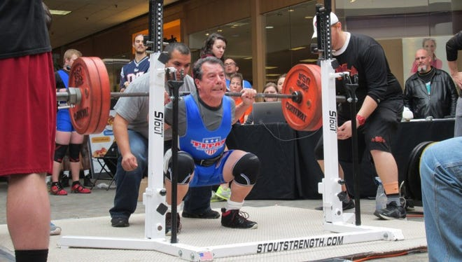 FILE - Ray Fougnier squatted 270 pounds at a recent competition in Nevada in early 2016.