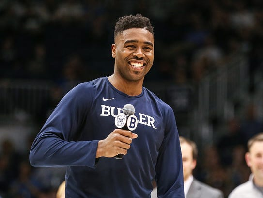 Butler Bulldogs forward Kelan Martin (30) thanks fans