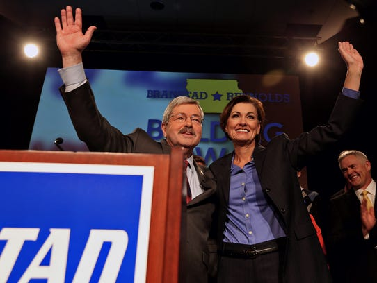 Iowa Governor Terry Branstad, left, and Lt. Governor