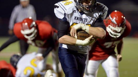 Eastern York's Lucas Barshinger rushes for a touchdown during Eastern's 48-0 win against Susquehannock earlier this month. (Chris Dunn -- GameTimePA.com)