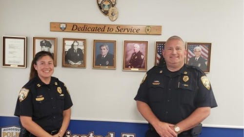 Jessica Franco and Mark Jesske are promoted to rank of captain with the Irondequoit Police Department.