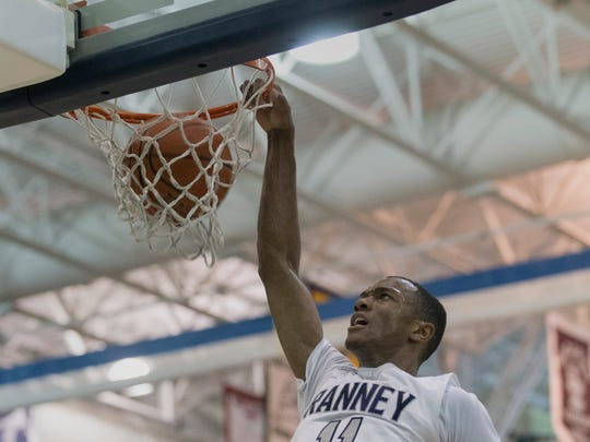 Ranney's Scottie Lewis slams one home during second half action.   CBA vs Ranney School in Shore Conference Tournament Semifinal game in Toms River NJ on February 22, 2018.