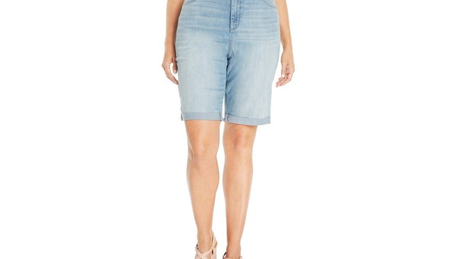 NYDJ Plus Size Briella Cuffed Denim Bermuda Shorts, Manhattan Beach Wash, $79 at Macy's. To check local availability or shop online, www.macys.com