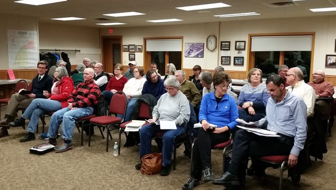 The crowd that turned out to discuss a planned cheese factory considered by the Egg Harbor Town Board on Monday.