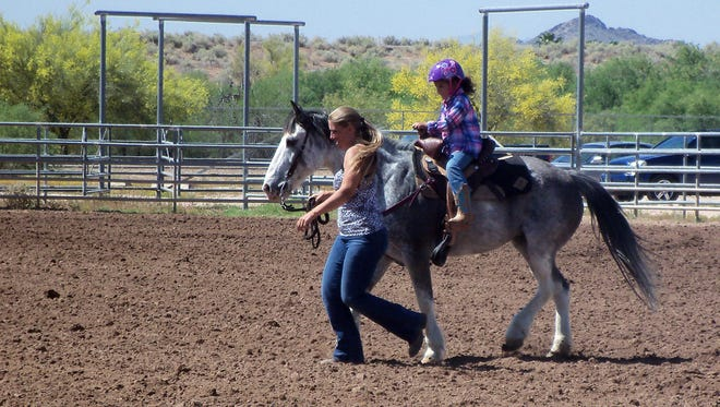 McKinley Braxton, 5, competed in the gymkhana lead-line event sponsored by the Scottsdale Saddle Club on April 13.