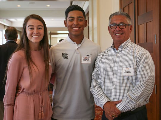 Jane Jordan, Jeremiah Estrada and Darol Salazar at the Sports Heroes Luncheon of the Boys and Girls Clubs of the Coachella Valley in Indian Wells, April 6, 2017.