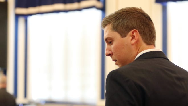 Former University of Cincinnati police officer Ray Tensing leaves Common Pleas Judge Megan Shanahan's courtroom after a hearing.