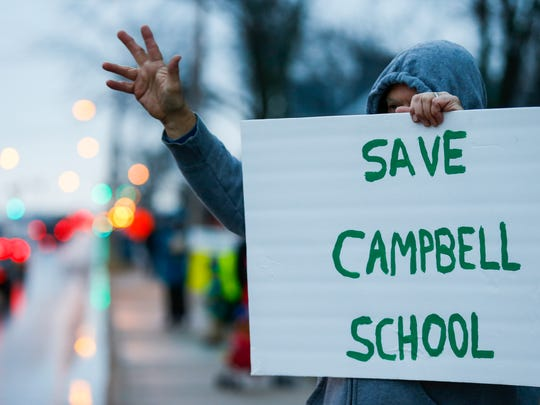 Fred Ellison protest outside of Campbell Elementary