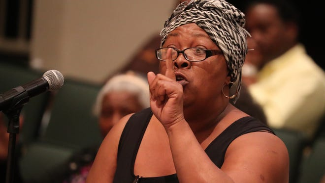 Maria McCant addresses Fort Myers Mayor Randy Henderson directly and holds him responsible for the murder of her son, Leon Jones, in 2002. She spoke during the News-Press Town Hall.