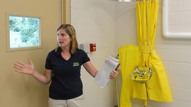 Mary Seemann, Marketing and Development director for the Salisbury Zoo, stands inside the new Animal Health Clinic Center at The Salisbury Zoo.