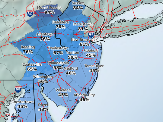 It's a coin flip as to whether the Shore gets any snow.