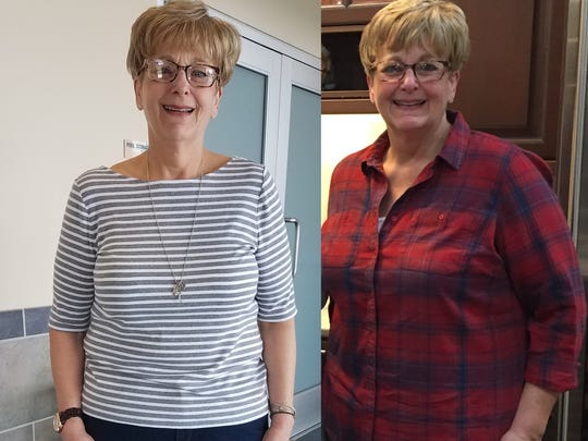 2018 Lean on the Lakeshore women's winner Mary Sonnenberg, before and after.
