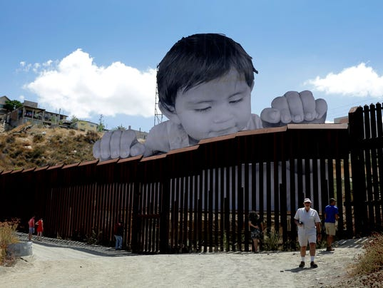 Art installation at border wall between Mexico and California