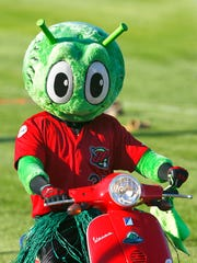 Orbit, the Great Falls Voyagers mascot, arrives at