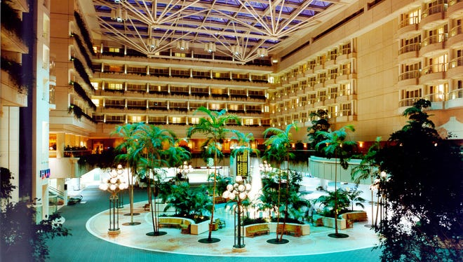 The Orlando Airport 446-room Hyatt Hotel is placed on top of the main terminal building.