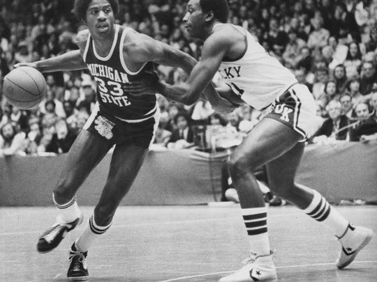 After losing to Kentucky on March 18, 1978, in the NCAA Mideast Regional final, Magic Johnson (left) decided to return to Michigan State for his sophomore season.