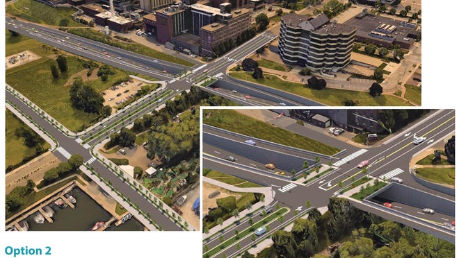 This PennDOT rendering from 2018 shows an option to reconfigure the State Street/Bayfront Parkway intersection. State Street would be raised over the parkway. A signal would control traffic.