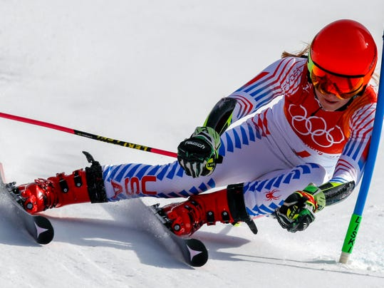 Mikaela Shiffrin, of the United States, attacks the gate during the second run of the Women's Giant Slalom at the 2018 Winter Olympics in Pyeongchang, South Korea, Thursday, Feb. 15, 2018., Thursday, Feb. 15, 2018. (AP Photo/Jae C. Hong)