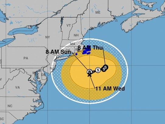 Tropical Storm Jose's projected path, as of 8 a.m.