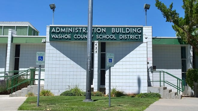 The outside of the Washoe County School District administration building Thursday afternoon.