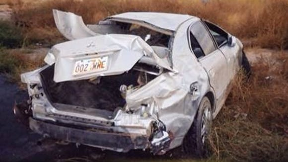 Tammy Nicholson's car following her rollover accident on Oct. 10, 2004 near Fillmore, Utah.