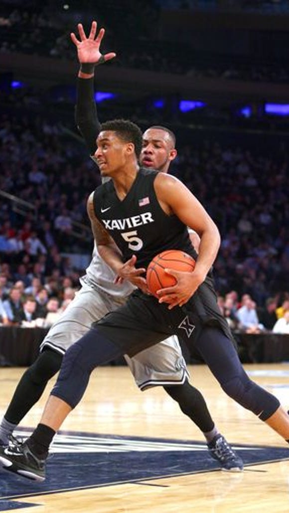 Trevon Bluiett (5) and Xavier didn't know their NCAA tournament second-round foe until close to midnight Tuesday, when Ole Miss knocked off BYU in a first-round game in Dayton. XU and Ole Miss play at 4:10 p.m. Thursday in Jacksonville.