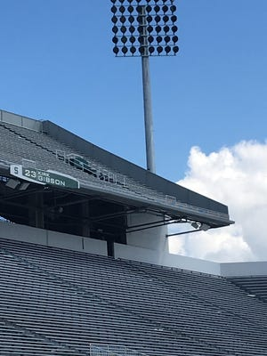 New lights and Kirk Gibson's Ring of Honor banner are on display at Spartan Stadium.