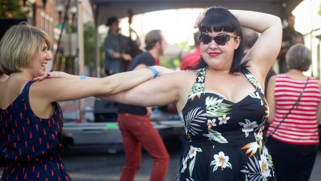 Stephanie Lombardo and Megan Kelly dance to Woody Pines at last year's Rockabilly Rumble.