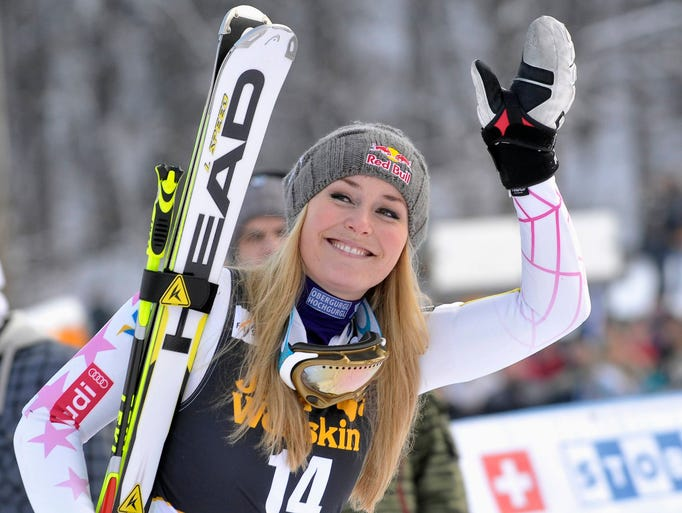 Lindsey Vonn reacts after winning  the World Cup Women's Giant Slalom race on Jan, 26, 2013. The IRS filed a $1.7 million tax lien against World Cup champion skier Lindsey Vonn on April 2, 2012, which she paid off before the end of that month.