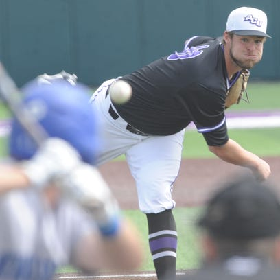 ACU starter Brock Barger throws a pitch to a New Orleans