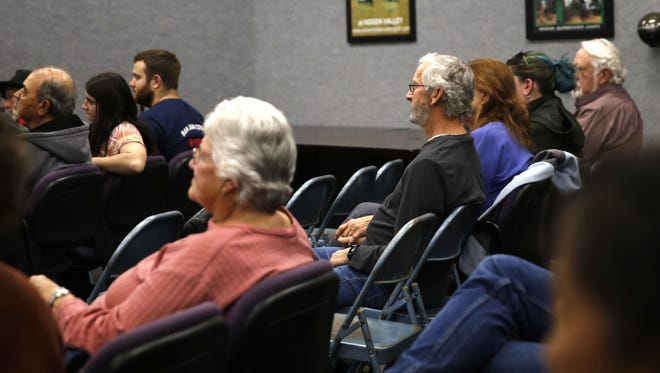Aztec residents attend a candidate forum onThursday at Aztec City Hall.