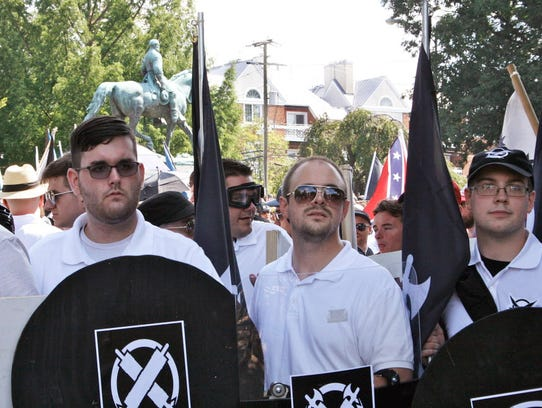 James Alex Fields Jr., left, in Charlottesville, Va.,