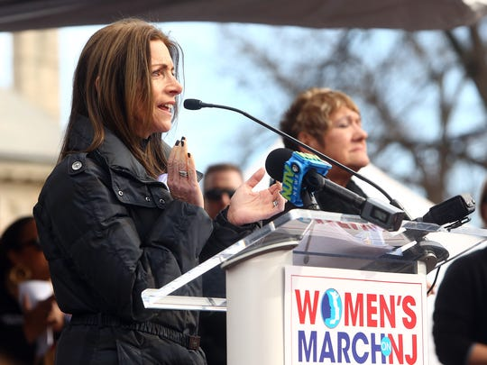 New Jersey First Lady Tammy Murphy takes the stage to speak on the Morristown Green as thousands marched through Morristown for the Women's March on New Jersey, one of hundreds of events conducted around the nation to mark the one-year anniversary of the 2017 WomenÕs March on Washington, the largest single-day protest in American history..  January 20, 2018. Morristown, NJ.