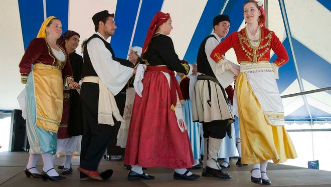 The St. Spyridon Greek Dance group performs during Greekfest Saturday July 28, 2012 at Deland Park in Sheboygan.
