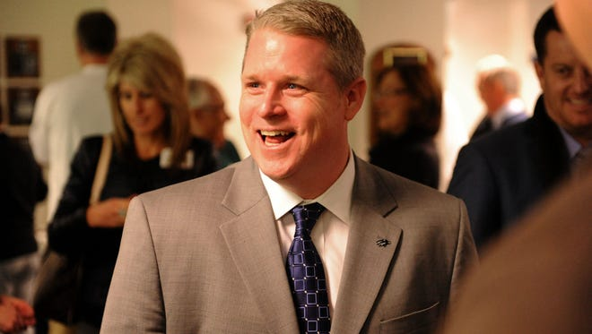 Brian Polian, shown during his introductory press conference at Nevada, will join the staff at Notre Dame.