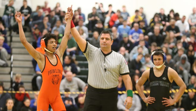 Pawling's Jerome Scott defeats Putnam Valley/Haldane's David Ordonez in the 99-pound match at the Section 1, Division 2 Wrestling finals at Hasting High School in Hastings on Hudson on Saturday, February 10, 2018.