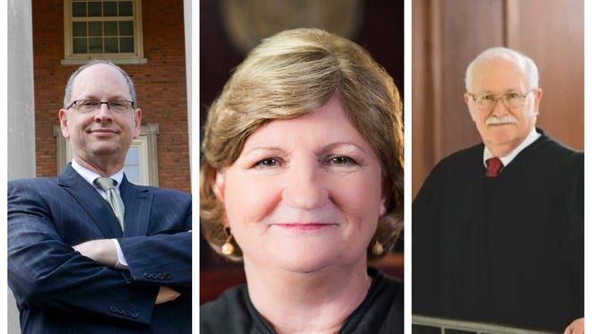 Candidates for Alabama Supreme Court Chief Justice, from left to right, Democrat Bob Vance, Republican Lyn Stuart and Republican Tom Parker.