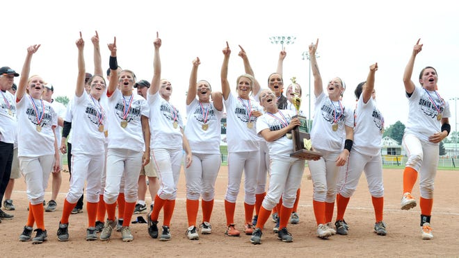 The Hoover Vikings win the Division I state softball championship 7-0 in Akron.