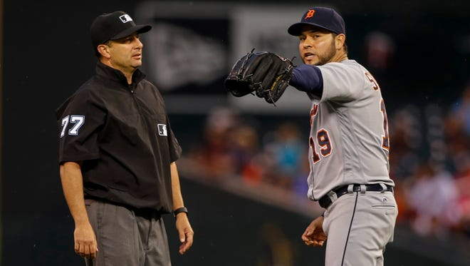 Tigers pitcher Anibal Sanchez (19) pleads with umpire Jim Reynolds after Reynolds called a balk on Sanchez in the second inning at Target Field Tuesday.