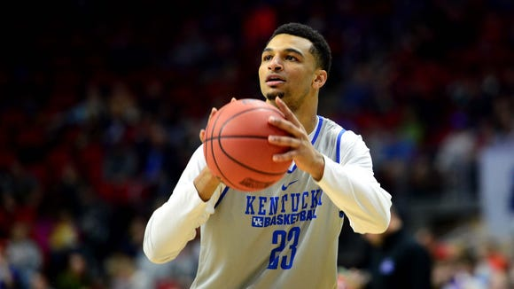 Kentucky Wildcats guard Jamal Murray (23) shoots the ball during a practice day before the first round of the NCAA men's college basketball tournament at Wells Fargo Arena.