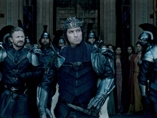 Jude Law plays Vortigern, the evil uncle to King Arthur,