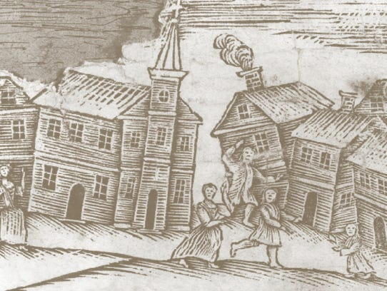 Disruption to town life: A woodcut depicts dismay over