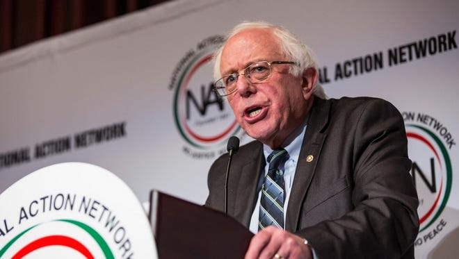 Sen. Bernie Sanders, I-Vt., speaks at the National Action Network (NAN) national convention on April 8, 2015, in New York.