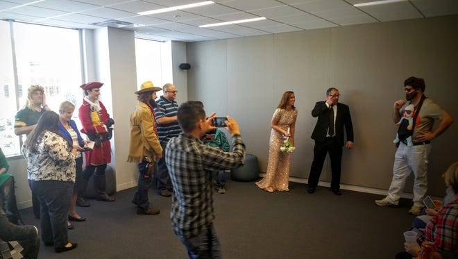 Christie Lugar and Tom Hochstetler at their wedding Thursday.
