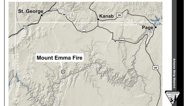 The Mt. Emma fire had burned more than 3,800 acres as of Sunday morning. It is located 75 miles southwest of St. George.