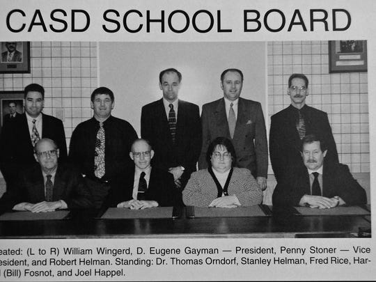 Stanley Helman, standing second form left, is seen in a photograph in a 1998 CASHS yearbook. Helman. Helman has spent 20 years on the CASD school board.