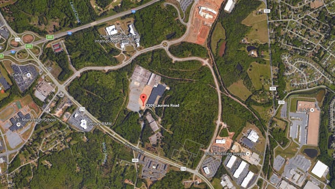 This aerial photo shows the location of the former Hollingsworth on Wheels property along Laurens Road.