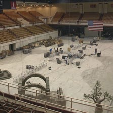 2013 photo of the Knoxville Civic Coliseum preparing for the Nativity Pageant.